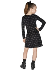 Girls Halloween Cat Skater Dress