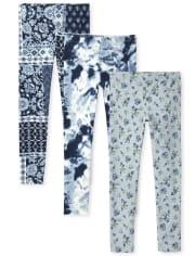 Girls Print Leggings 3-Pack