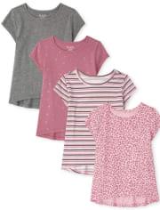 Pack de 4 blusas estampadas para niñas