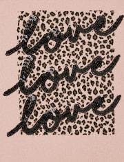 Top estampado leopardo con estampado de leopardo para niña