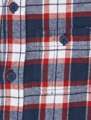Boys Matching Family Plaid Flannel Button Down Shirt