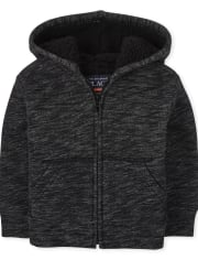 Baby And Toddler Boys Marled Sherpa Zip Up Hoodie