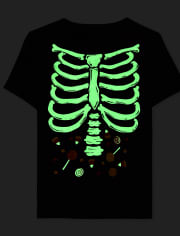 Baby and Toddler Boys Dad And Me Glow Skeleton Graphic Tee