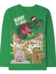 Boys Christmas Dino Graphic Tee
