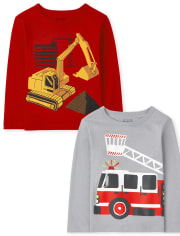 Toddler Boys Vehicles Graphic Tee 2-Pack
