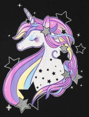 Girls Unicorn Stars Graphic Tee