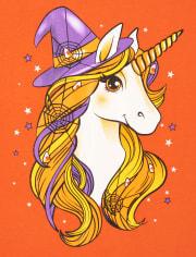 Girls Unicorn Witch Hat Graphic Tee