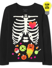 Girls Mommy And Me Glow Candy Skeleton Graphic Tee