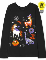 Girls Glow Halloween Animals Graphic Tee