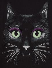 Girls Glow Black Cat Graphic Tee