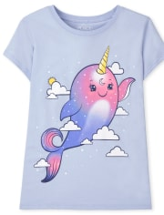 Girls Narwhal Graphic Tee