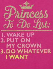 Baby and Toddler Girls Princess To Do List Graphic Tee