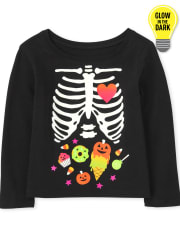Baby and Toddler Girls Mommy And Me Glow Candy Skeleton Graphic Tee