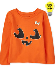 Baby and Toddler Girls Glow Pumpkin Bow Graphic Tee