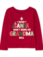 Baby and Toddler Girls Santa Grandma Graphic Tee