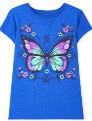 Girls Butterfly Flower Graphic Tee