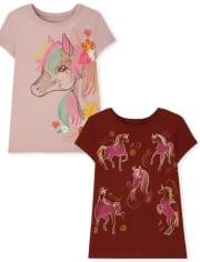 Girls Unicorn Sketch Graphic Tee 2-Pack