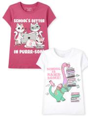 Girls School Graphic Tee 2-Pack