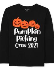 Unisex Kids Matching Family Pumpkin Picking Graphic Tee