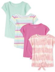 Girls Basic Layering Tee 4-Pack