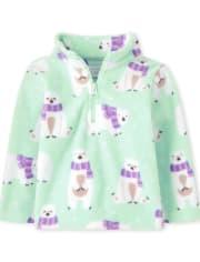 Toddler Girls Polar Bear Glacier Fleece Half Zip Mock Neck Pullover
