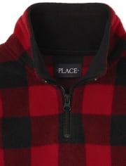 Unisex Kids Matching Family Buffalo Plaid Glacier Fleece Half Zip Pullover