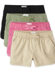 Girls Twill Pull On Shorts 4-Pack