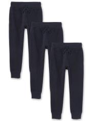 Boys Uniform Fleece Jogger Pants 3-Pack