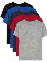 Camiseta básica de uniforme para niños, paquete de 5