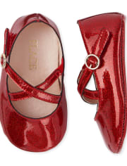 Baby Girls Glitter Cross Strap Ballet Flats