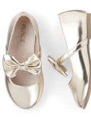 Toddler Girls Metallic Bow Ballet Flats