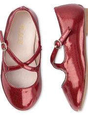 Toddler Girls Glitter Cross Strap Ballet Flats