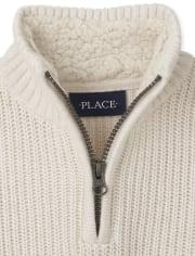 Boys Half Zip Mock Neck Sweater