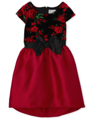 Girls Mommy And Me Floral Velour Dress