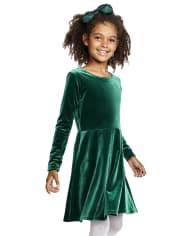 Robe patineuse en velours à découpes pour fille