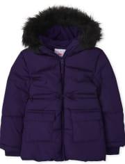 Girls Long Puffer Jacket
