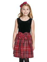Girls Mommy And Me Plaid Velour Knit To Woven Dress