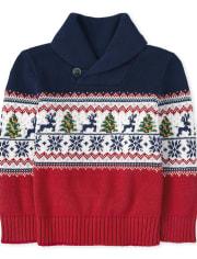 Toddler Boys Christmas Fairisle Shawl Neck Sweater