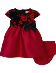 Baby Girls Mommy And Me Floral Velour Dress