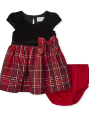 Baby Girls Mommy And Me Plaid Velour Knit To Woven Dress