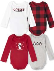 Unisex Baby Buffalo Plaid Bodysuit 4-Pack
