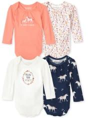 Baby Girls Unicorn Bodysuit 4-Pack