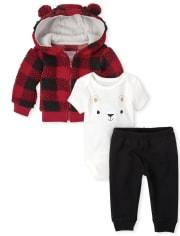 Baby Boys Buffalo Plaid 3-Piece Playwear Set