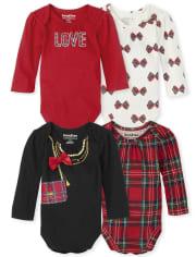 Baby Girls Plaid Bodysuit 4-Pack