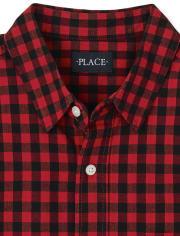 Camisa Oxford con botones a cuadros de búfalo de la familia a juego para hombre