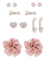 Girls Flower Love Earrings 6-Pack