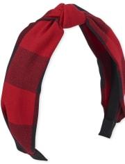 Girls Buffalo Plaid Knot Headband