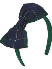 Girls Sequin Plaid Bow Velour Headband