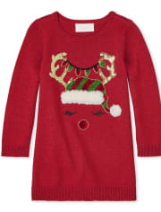 Baby And Toddler Girls Christmas Reindeer Sweater Dress