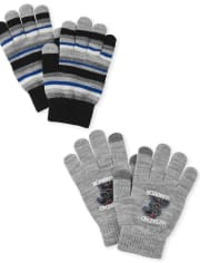 Boys Patch Texting Gloves 2-Pack